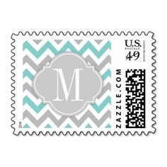 Teal Blue and Gray Chevron with Monogram Stamps