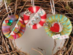mini yarn wreath ornaments