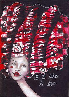 NatashaMay Art World: February 2013 StencilGirl stencil by Jessica Sporn Artist Trading Cards, Crazy Hair, Smash Book, Art World, Collage Art, Etsy Store, Stencils, Original Paintings, Mixed Media