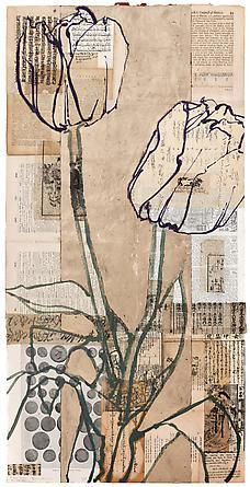 Robert Kushner Roman Coins Two Tulips, 2012 Oil, acrylic, gold leaf, and collage on paper, 36 x 18 inches