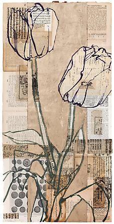 Robert Kushner Roman Coins Two Tulips, 2012 Öl, Acryl, Blattgold und Collage - Kunst Collage Kunst, Art Du Collage, Collage Art Mixed Media, Collage Collage, Flower Collage, Collage Drawing, Mixed Media Artists, Drawing Art, Illustration