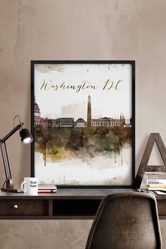 Washington Dc Wall Art washington dc typography map art print wordjoebstudio on etsy