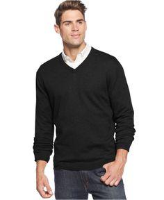Weatherproof Vintage Merino Wool-Cashmere Blend Solid V-Neck Sweater - Sweaters - Men - Macy's