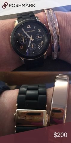 Michael Kors Watch Black & Gold chronograph watch with a silicone band.  Great condition, no scratches, working battery, like new condition.  Bracelet not included.  I have too many watches so need to part with this one as I don't wear it much. Michael Kors Accessories Watches