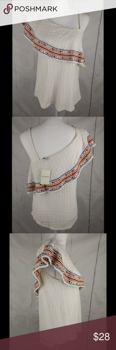"""Lucky Brand Embroidered Off Shoulder Boho Top Armpit to armpit (across the front): 18"""" Length: 25"""" Stock Number: A11 Measurements laying flat & not stretched. Please view all photos, as they are part of the description.  New items added daily! Please view my other great items,  Thank you for shopping!   Actual Item is Pictured, Please note: items may vary slightly in color then they do on the screen due to lighting/flash or different computer monitors, ETC Lucky Brand Tops Blouses"""