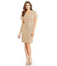 Maybe for Josh's mom? Jessica Howard Metallic FloralLace DrapeNeck Sheath Dress #Dillards