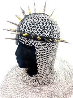⚔️The Joan of Arc⚔️   Headgear for battle or for watering the garden, made in pre-made plastic webbing with savage spikes.  This one is VEGAN!   MADE TO ORDER $150 + FREE SHIPPING  Custom options available.   #spikechoker #veganchoker #handmade #goth #punk #blackchoker #_somethingshit_ #spikes #sex #kink #catcollar #fluro #fluropink #flurochoker #fluropinkchoker #gardenhose #ladybird #spikedheadgear Joan Of Arc, Black Choker, Cat Collars, Leather Accessories, Headgear, Spikes, Savage, Battle, Goth