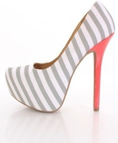 Light Grey Striped Fabric Pointy Toe Platform Pumps Heels - Shoes and beauty High Heel Pumps, Pumps Heels, Platform Pumps, Stilettos, Stiletto Heels, Flats, Cute Shoes, Me Too Shoes, Kd Shoes