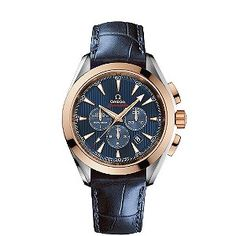 Omega Seamaster Olympic blue chronograph watch.     Omega were the Official Timekeeper in the last London Olympics in 1948. This limited edition black leather strap Seamaster model, is from the Omega Olympic Collection London 2012.