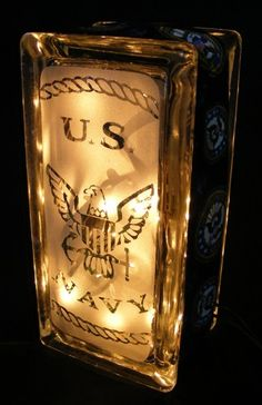 small Navy sandblasted glass block light