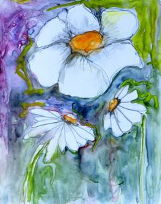 Windy Flowers, watercolor by Diana Trout