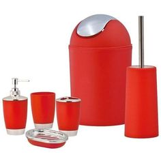 SQ Professional Red Bathroom Accessory Set 6pc ($33) ❤ liked on Polyvore featuring home, bed & bath, bath, bath accessories, plastic soap dispenser, plastic bathroom accessories, plastic toothbrush holder, red bath accessories and plastic tumblers