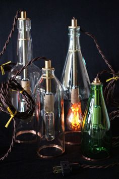 Attractive Lighting fixtures with vintage cord. Handcrafted designs by Brendon Piskula. Upcycled.
