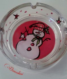 ashtray, hand paint, red colour, Christmas,