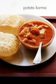 potato korma recipe - south indian style recipe of a delicious potato korma. good as a side dish with chapatis, pooris, pulao, or biryani.  #potato #korma