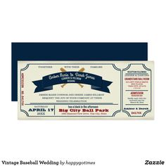 Vintage Baseball Wedding Card