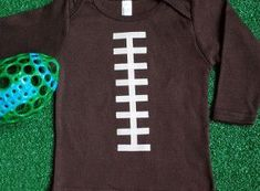 Get your baby ready for the big game by making this cute Little Linebacker Football Onesie! Sewing Projects For Kids, Sewing For Kids, Football Onesie, Big Game, Diy Gifts, Onesies, Sewing Patterns, Mens Tops, How To Make