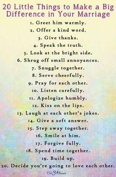 Best Love Quotes : FREE Printable: 20 Little Things to Make a Big Difference in your Marriage - Clu. - Quotes Sayings Godly Marriage, Marriage Relationship, Marriage And Family, Marriage Tips, Strong Marriage, Relationship Questions, Relationship Pictures, Christian Marriage Advice, Marriage Recipe