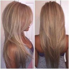 Long Hair V Cut, Short Hair Cuts, Short Hair Styles, V Cut Hair, Long Layered Haircuts Straight, Straight Hairstyles For Long Hair, Long Straight Layered Hair, Straight Bangs, Long Curly