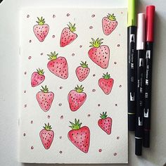 Strawberry illustration using Tombow Dual Brush Pen