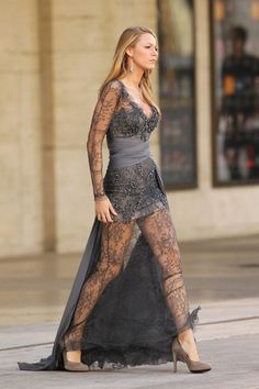 Blake Lively Grey Lace Dress Zuhair Murad Dress Gossip Girl 2010