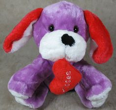 Animal Adventure Sweet Sprouts Plush Purple Dog w/Red Heart Kisses Valentine's #AnimalAdventure