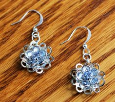 Blue Flower Crystal Earrings, Crystal Jewelry, Bridal Graduation Jewelry, Dangle Drop Earrings, Elegant, Handcrafted Gift for Her, by IvanRoseCreations on Etsy