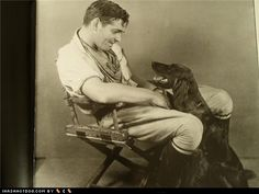 """Clark Gable and his Flat-Coated Retriever. We've owned two and love their goofy """"doganalities""""."""