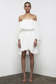 Shona Joy - Cumulus Pleated Off The Shoulder Mini Dress In White