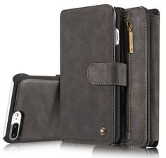 Luxury multi-function flip iphone 7 plus genuine leather case cover with card slots black