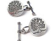 Men's Tree of Life Cufflinks, Handcrafted Antique Style Single Side Circle Cuff Links- Wedding Groom Prom Guys Gift
