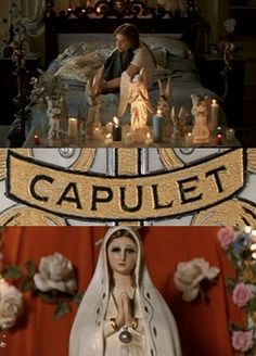 I put this in here, because it shows Juliet thinking about Romeo. It also has her name really big and kind of shows her struggling with the fact that that is her name. Romeo Juliet 1996, Juliet Movie, Leonardo Dicaprio Romeo, William Shakespeare, Movies Showing, Movies And Tv Shows, Juliet Capulet, Romeo Und Julia, Baz Luhrmann