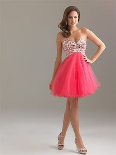 A-line Sweetheart Neckline Empire with Beadings Short Homecoming Dress HD1084