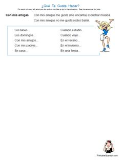 Printable Spanish FREEBIE of the Day:  ¿Qué Te Gusta Hacer? worksheet from PrintableSpanish.com