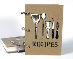 Recipe Book Utensils cover 4 in x 6 in Size No.1 door BethBee