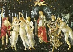 """Primavera"" in 1482 by Sandro Botticelli (Florence 1445-1510). Tempera on panel. Renaissance. Most critics agree that the painting, depicting a group of mythological figures in a garden, is allegorical for the lush growth of Spring, or work is sometimes cited as illustrating the ideal of Neoplatonic love. The history of the painting  may have been inspired by a poem by Poliziano. The pastoral scenery is elaborate. There are 500 identified plant species depicted, with about 190 different…"