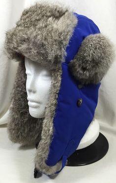Mad Bomber Trail Rabbit Fur Hat Bomber Trapper Snowboarding Royal Blue (XL) #MadBomber #AviatorTrapper