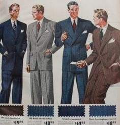 Mens 1940s wool suits, 1942