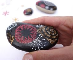 5 painted pebbles black gold and red / Christmas gift / by emadoo