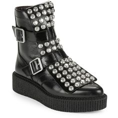 Marc Jacobs Women's Bowery Studded Leather Platform Moto Boots ($209) ❤ liked on Polyvore featuring shoes, boots, black, black strappy flats, black leather boots, moto boots, motorcycle boots and black moto boots