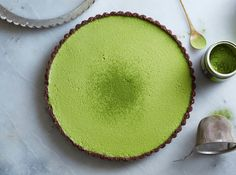 Raw(cashew cream) matcha coconut custard tart with chocolate crust