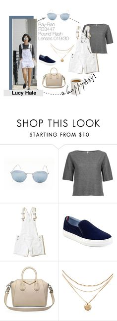 """Lucy Hale: a happy day!"" by visiondirect ❤ liked on Polyvore featuring Ray-Ban, Ready to Fish by Ilja, Hollister Co., Tommy Hilfiger, Givenchy, GetTheLook, sunglasses and CelebrityStyle"