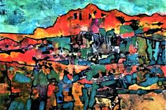 Chava Silverman - Modern Contemporary expressionist semi-abstract landscape collages, in vibrant brilliant color and textures, representing dream and fantasy scenes and vistas.