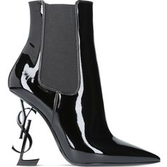 Saint Laurent Opyum 110 patent leather ankle boots ($1,530) ❤ liked on Polyvore featuring shoes, boots, ankle booties, pointed toe bootie, pointy toe bootie, high heel booties, bootie boots and high heel bootie