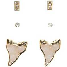Charlotte Russe Gold Druzy Shark Tooth Stud Earrings - 3 Pack by... ($6) ❤ liked on Polyvore