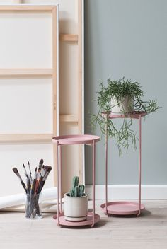 Colourful plant stand for green delights. Plant stand, available in the colours dusty green, dusty rose and black. Price per item from DKK / ISK 2669 / SEK / NOK / EUR / GBP Interior Styling, Interior Decorating, Interior Design, Firm Living, Decorative Accessories, Home Accessories, Urban Garden Design, Scandinavian Interior, Furniture Inspiration
