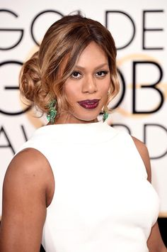 Golden Globes 2016 Celebrity Hairstyles & Makeup: Laverne Cox #makeup #beauty #hair Berry lip