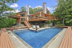 Contemporary Swimming Pool with exterior tile floors, Raised beds, exterior stone floors, Skylight, Pathway Swimming Pool House, Swimming Pools, Pound Ridge, Exterior Tiles, Zillow Homes, Luxury Pools, Luxury Cars, Beautiful Pools, Dream Pools