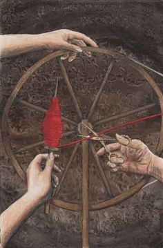 The spinning wheel was where the sisters sat and would determine a man's destiny. Chotho would spin the thread, Lachesis would measure it and Atropos would cut it. Roman Mythology, Norse Mythology, Greek Mythology, La Belle Epoque Paris, Asatru, Wheel Of Fortune, Greek Gods, Gods And Goddesses, Archetypes
