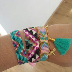 My own miyuki beadloom bracelets diy Bead Jewellery, Diy Jewelry, Beaded Jewelry, Handmade Jewelry, Loom Bracelet Patterns, Bead Loom Bracelets, Bead Crochet Patterns, Beading Patterns, Bead Loom Designs